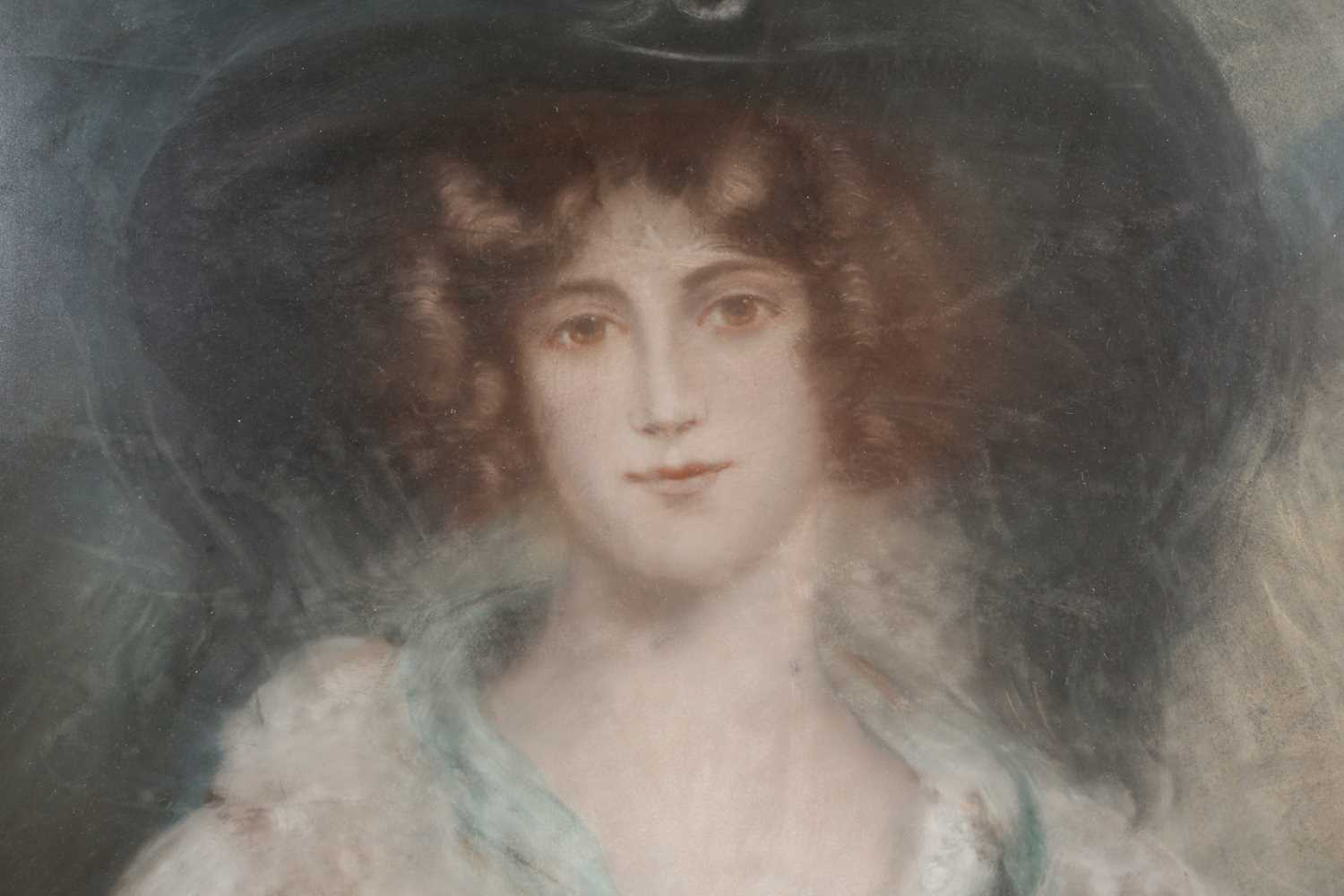 19th-century British school, a large head and shoulders portrait of a finely dressed young lady, - Image 2 of 3