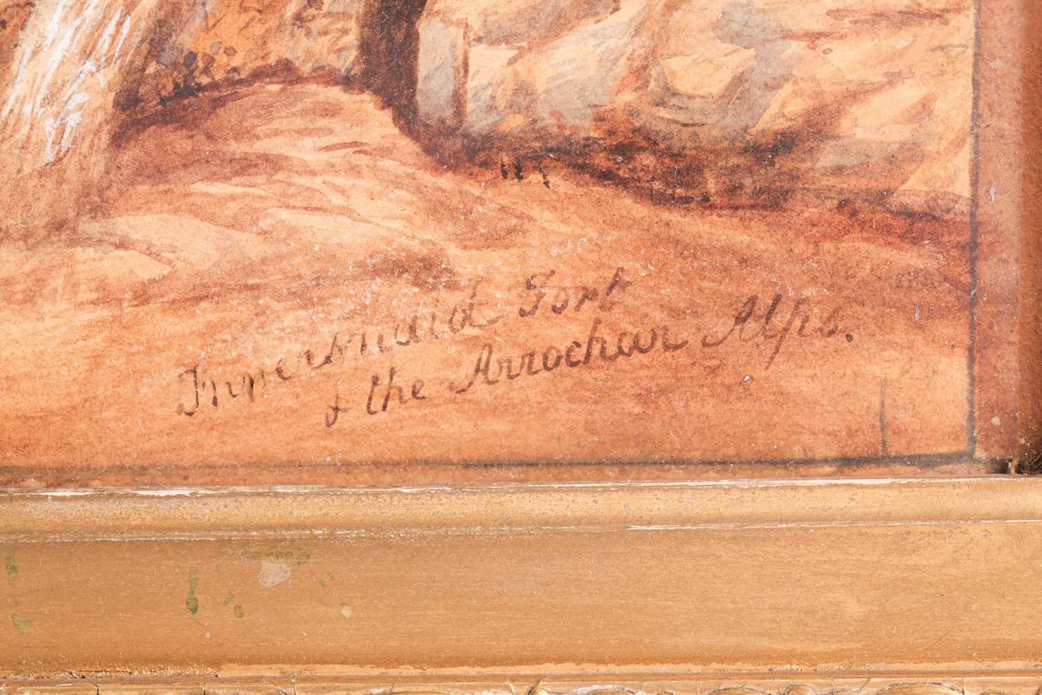 19th century Scottish school, a mountainous landscape, depicting the remains of a fort in the - Image 4 of 7
