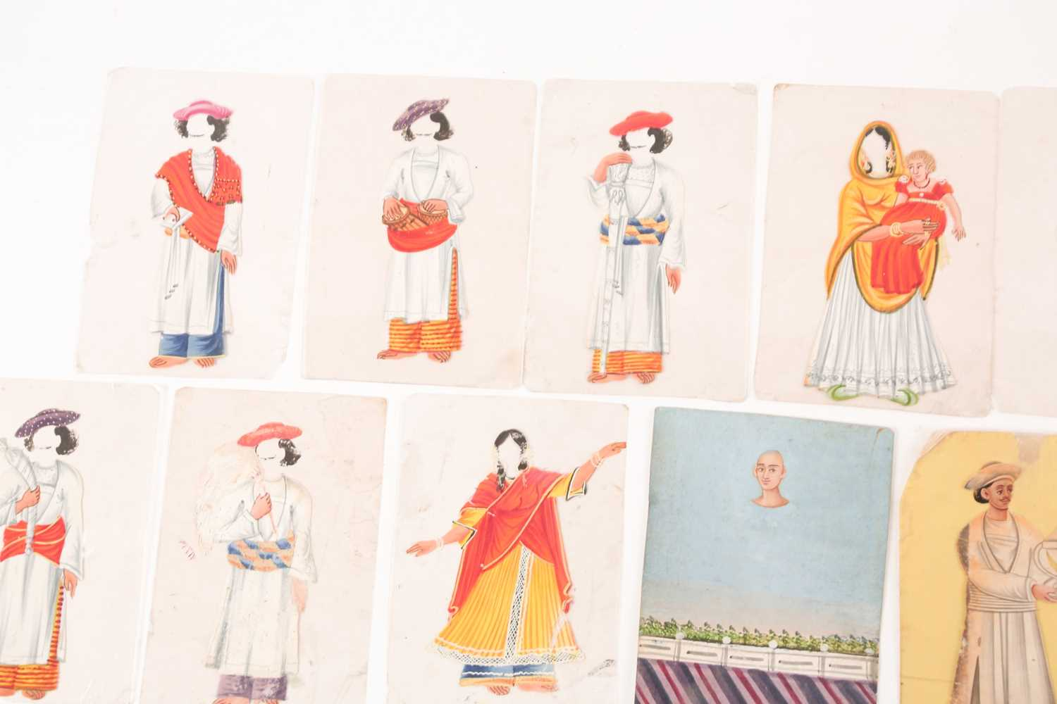 Twenty three Indian Company School mica studies of costumes, 19th century, depicting male and female - Image 3 of 10