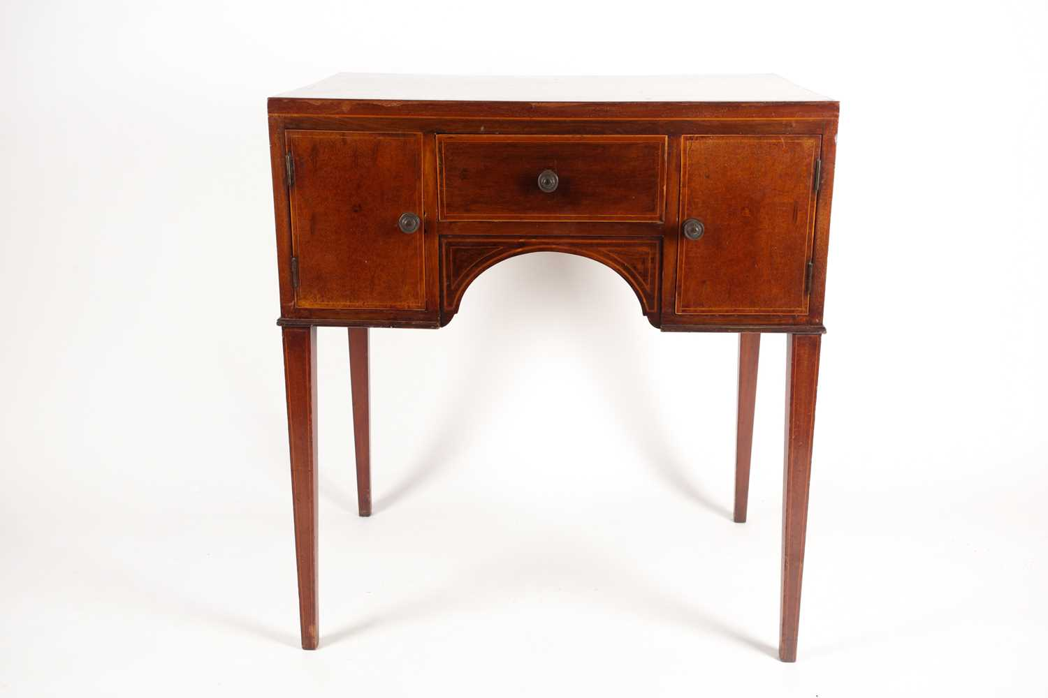 An Edwardian satinwood and tulipwood banded mahogany caddy topped kneehole dressing table with one - Image 2 of 5