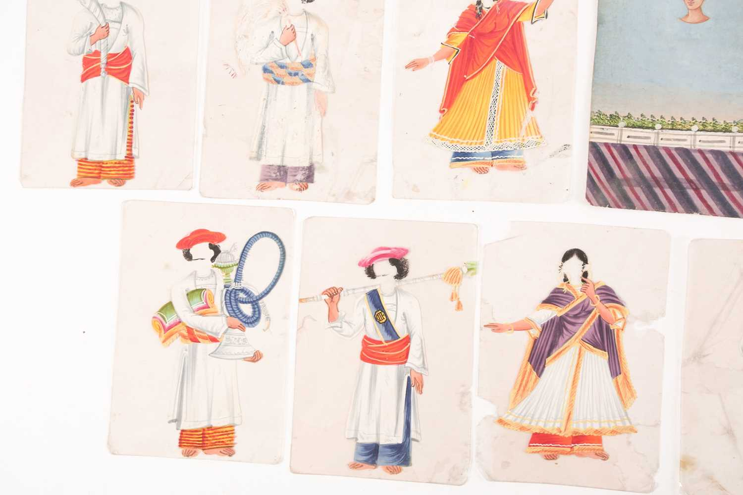 Twenty three Indian Company School mica studies of costumes, 19th century, depicting male and female - Image 2 of 10