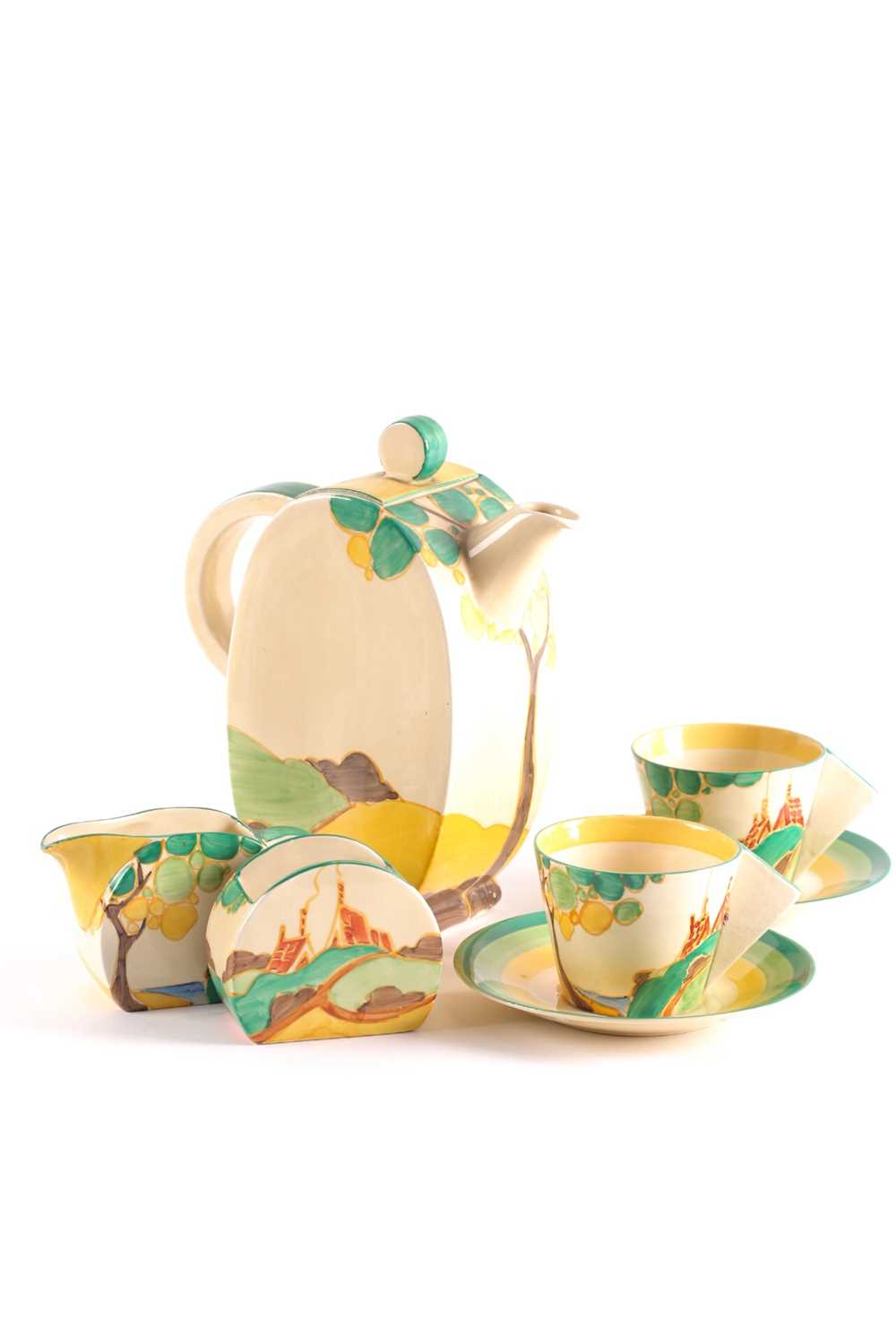 A Clarice Cliff Bon Jour coffee service, circa 1933, in the 'Secrets' pattern, comprising coffee - Image 4 of 9