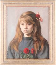 David Abraham Bueno de Mesquita (1889 - 1962), portrait of a young girl with flowers, signed,
