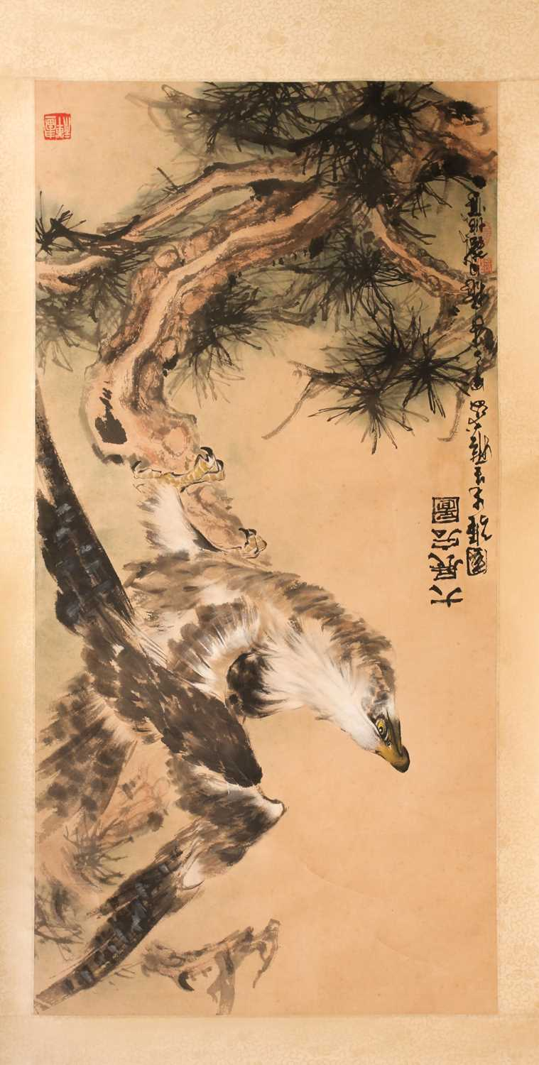 A Chinese hanging scroll, painted with an eagle upon a gnarled pine branch, with three red chop - Image 2 of 8