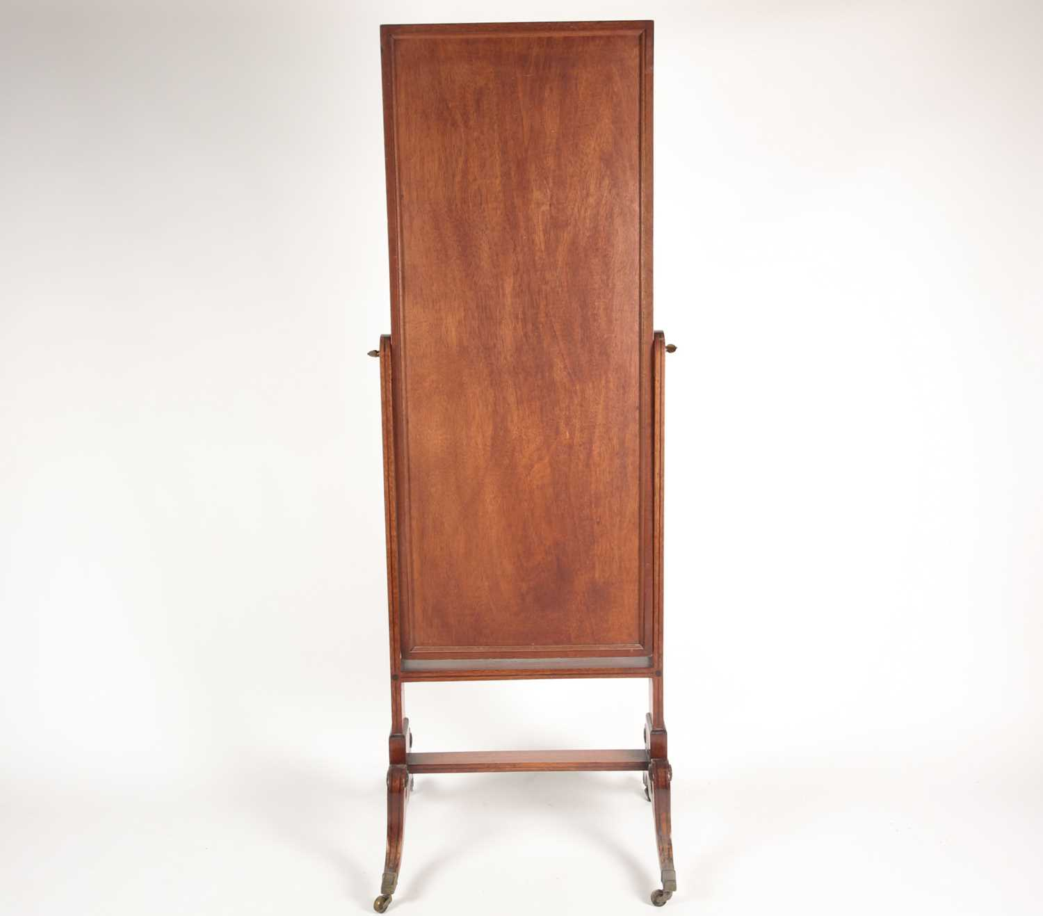 A George IV ebony strung and inlaid mahogany cheval dressing mirror. On shaped scroll and sabre - Image 2 of 11