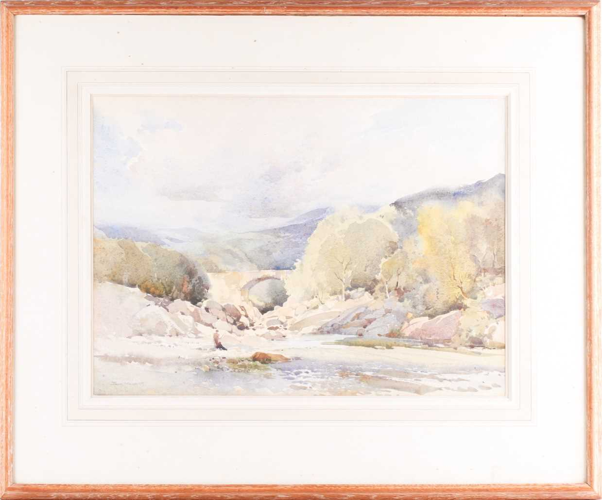 Jack Merriott RI, ROI, RSMA, RWS (1901-1968), 'Killicrankie', a fisherman on rocks beside a river,