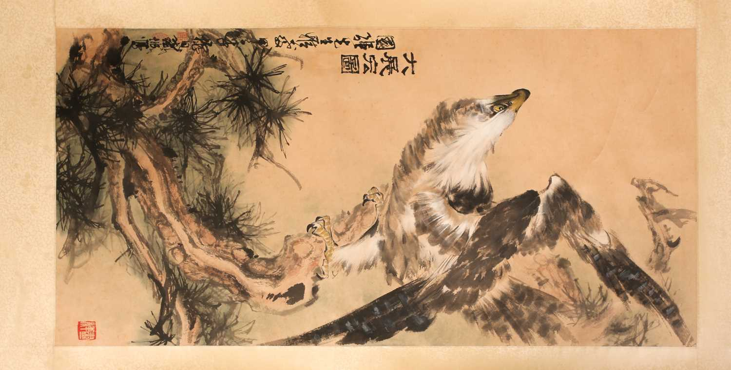 A Chinese hanging scroll, painted with an eagle upon a gnarled pine branch, with three red chop - Image 8 of 8