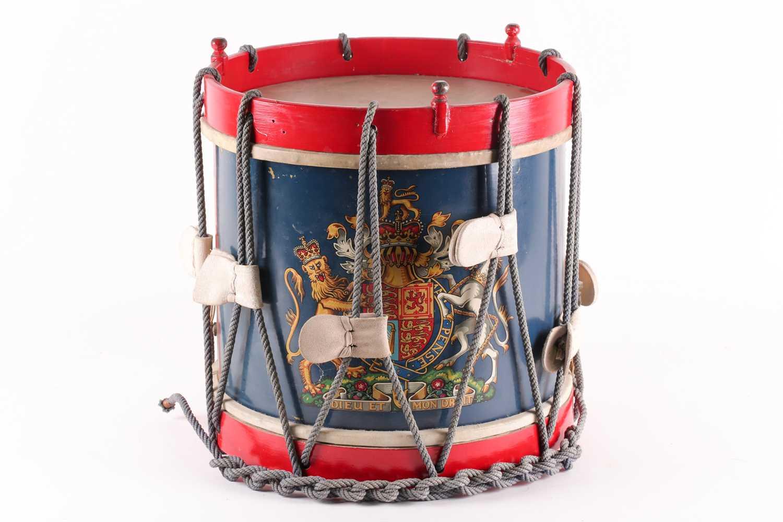 A 20th century regimental (Queen's own regiment of foot?) side drum by Peter Henderson ltd of