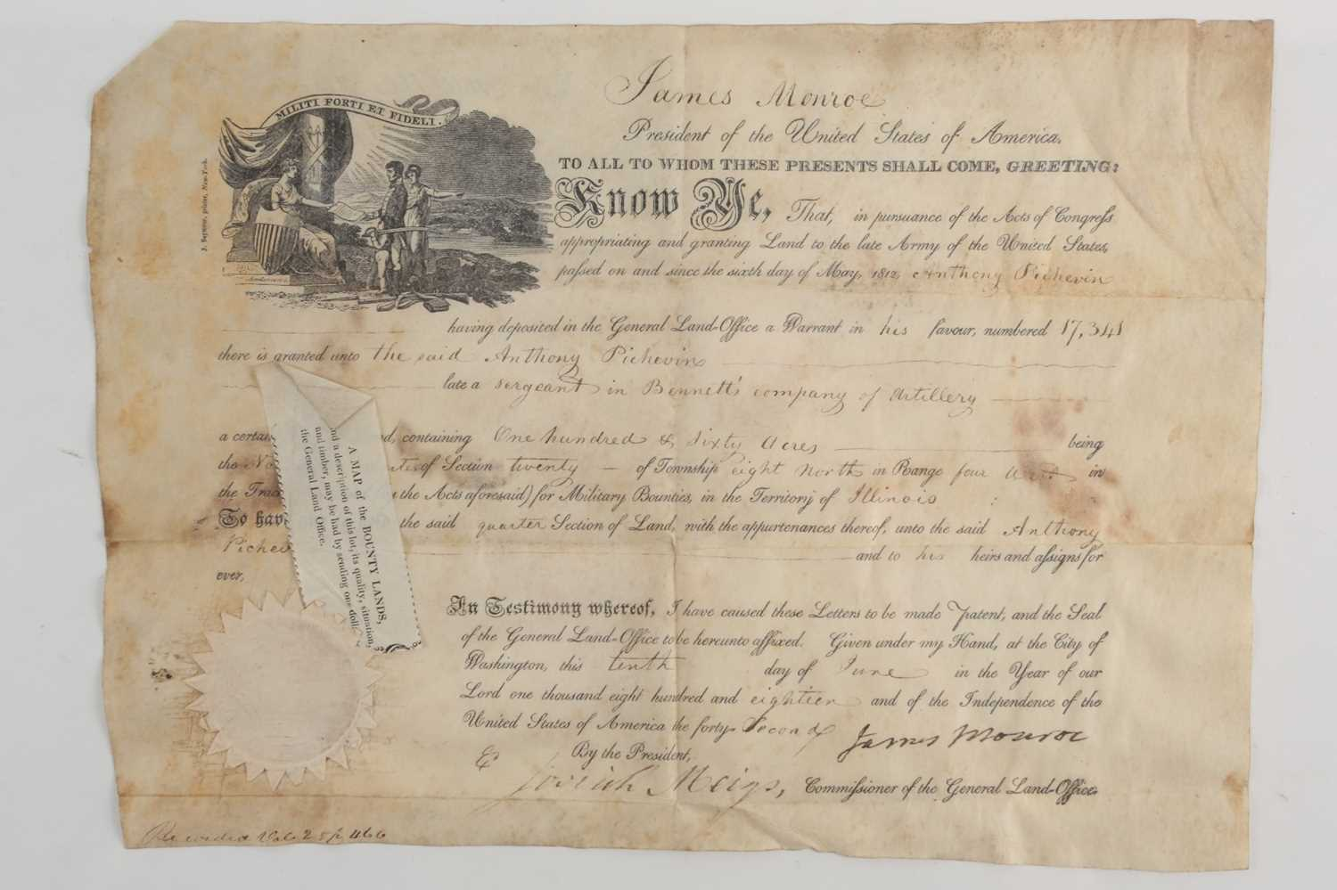 Historical American Interest. An early 19th-century velum land grant indenture signed by James