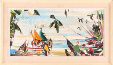 George Richard Deakins (1911-1982), an abstract coastal landscape, oil on panel, 29.5 cm x 60 cm