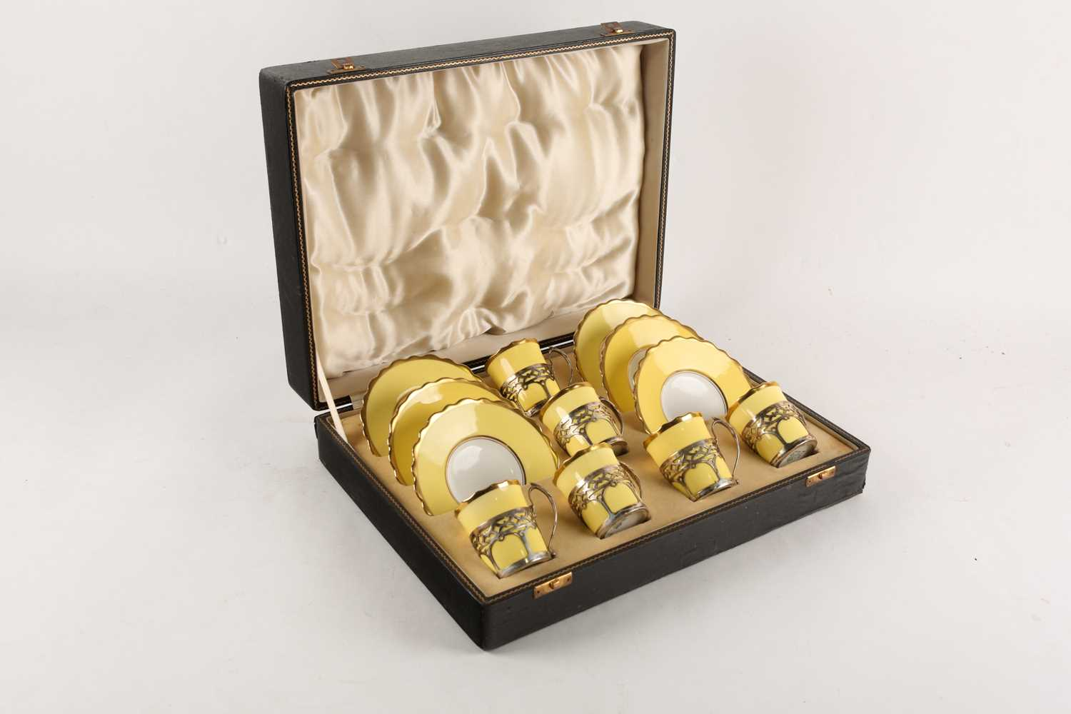 A set of six Aynsley bone china silver-mounted coffee cans and saucers, the two-tone yellow and - Image 4 of 4