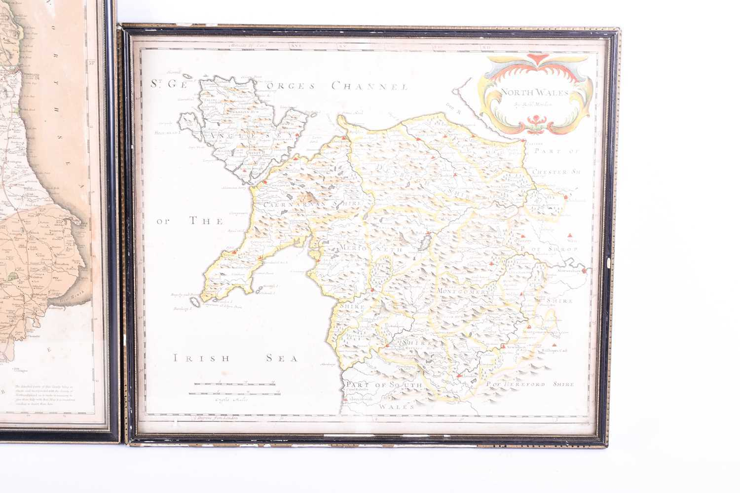 A Robert Morden map of North Wales , hand tinted, 37 x 43cm, together with an early 19th century map - Image 4 of 4