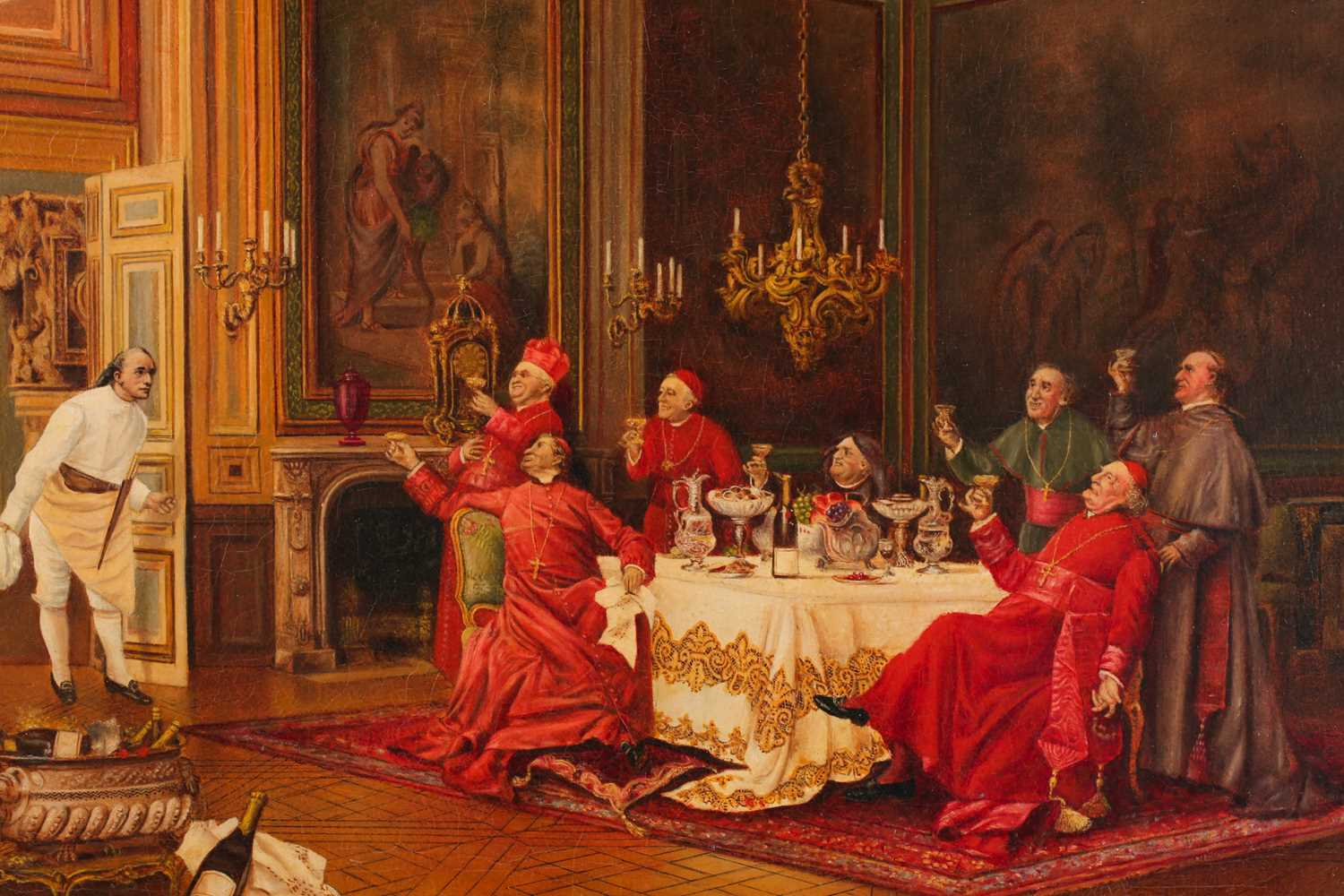 After Leo Hermann (1853-1927), a group of Cardinals raising a toast to a gentleman, seated in an - Image 3 of 3