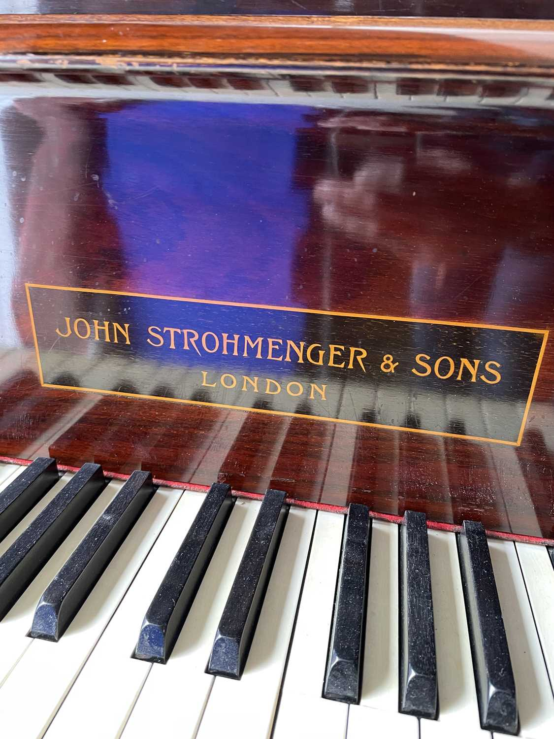 A mahogany cased baby grand piano, by John Strohmenger & Sons, London, 143 cm wide x 101 cm high x - Image 9 of 21