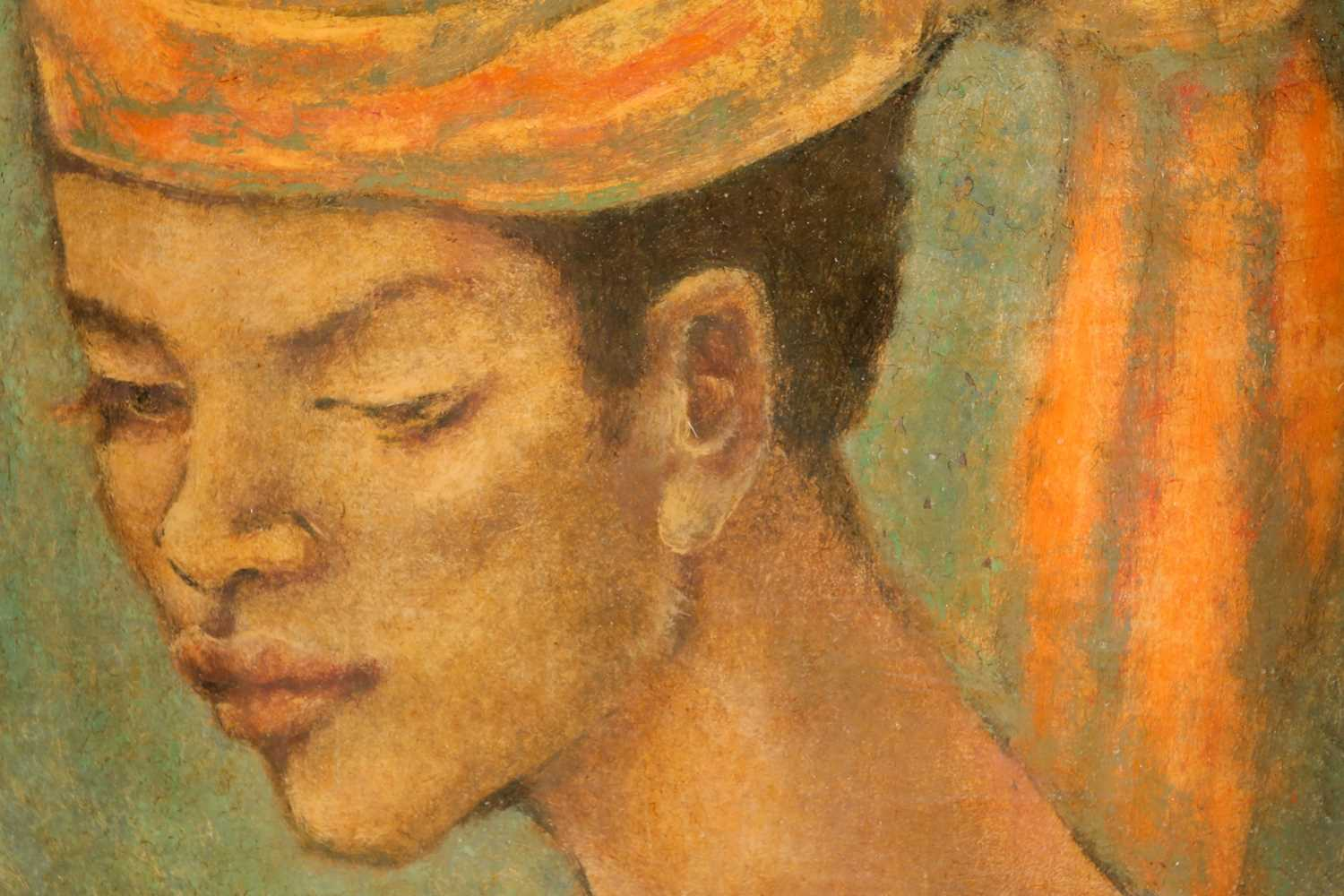 George Biddle (1885-1973) American, portrait of a woman wearing a head-dress, oil on board, signed - Image 2 of 4