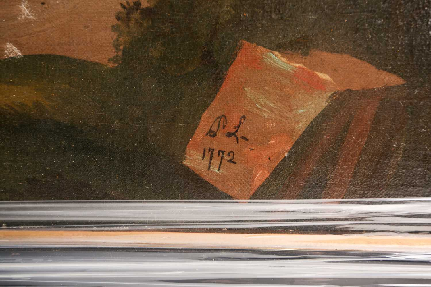 English Naive School, 18th century, Portrait of a dapple grey horse and groom in a landscape, oil on - Image 2 of 4