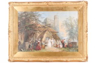 John Edmund Buckley (1824-1876), a 17th century wedding party emerging from church on a summer's