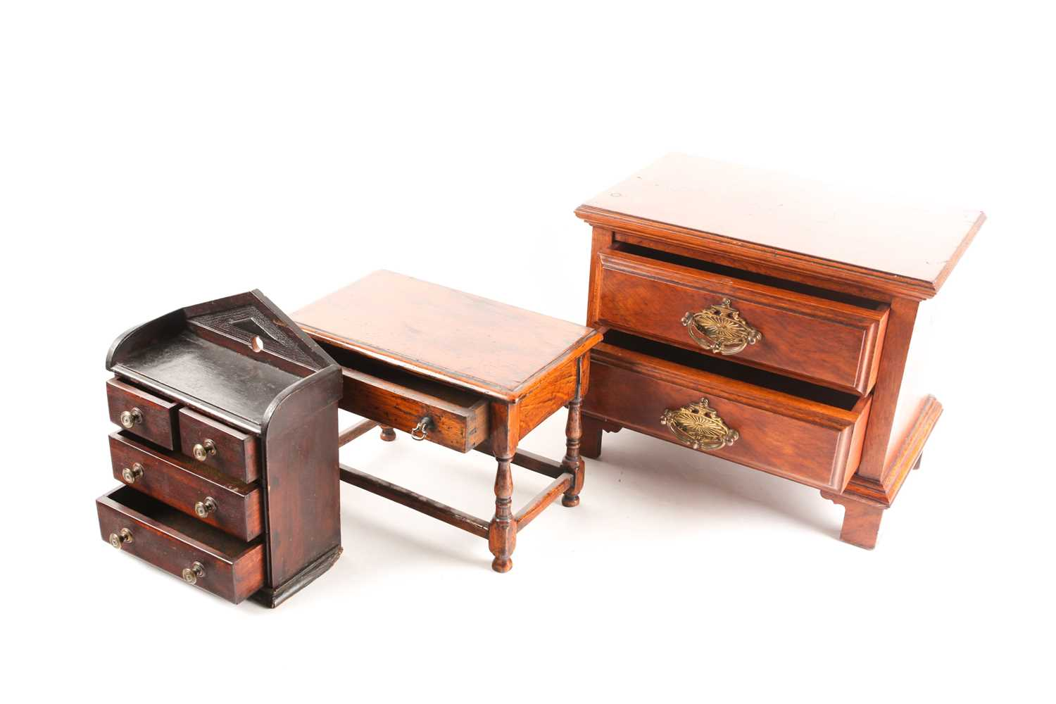A Victorian apprentice piece chest of drawers, with pointed arch gallery back, the drawers with - Image 2 of 3