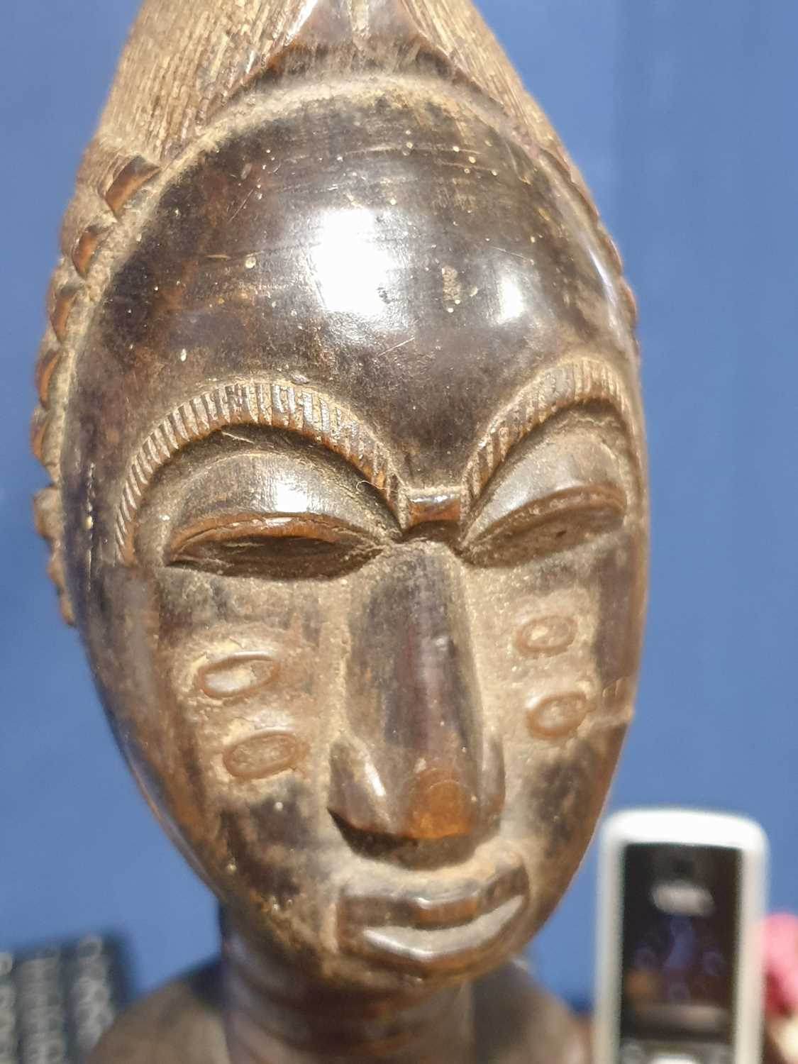 A Baule standing male figure, Blolo Bian, Ivory Coast, the coiffure with linear decoration, the face - Image 11 of 15