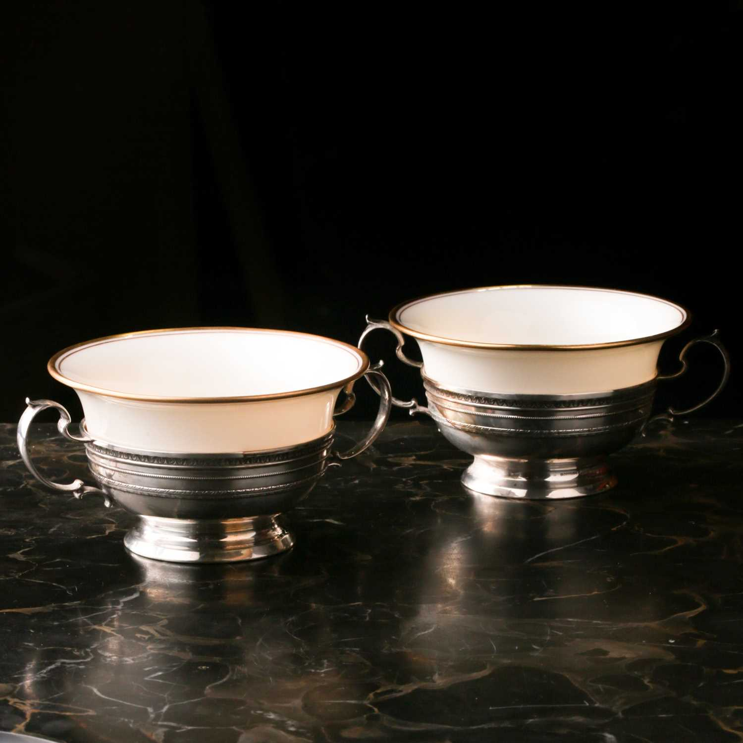 A Lenox Porcelain coffee and dessert service, set in Gorham Sterling Silver mounts, comprising - Image 13 of 26