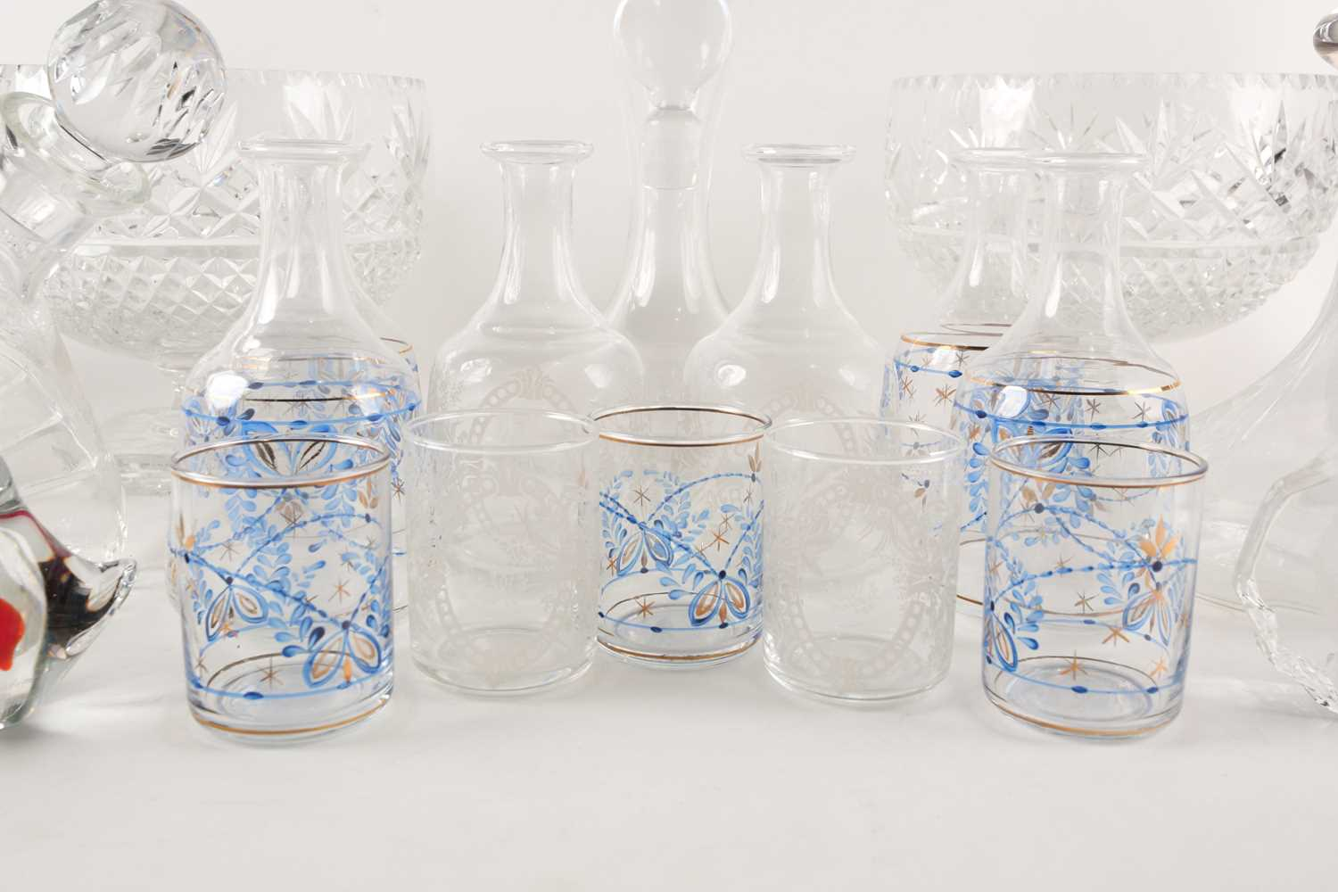 A quantity of cut glass to include a pair of large pedestal bowls, a Waterford decanter, glass - Image 7 of 7