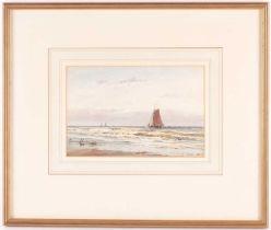 Thomas Bush Hardy (1842-1897) British, sailing boats viewed from a beach, watercolour, signed and
