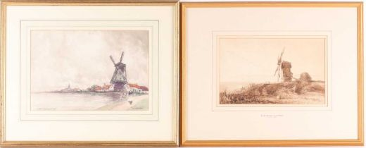 Thomas Lound (1802-1861), study of a coastal windmill, watercolour, 17 cm x 27 cm, together with