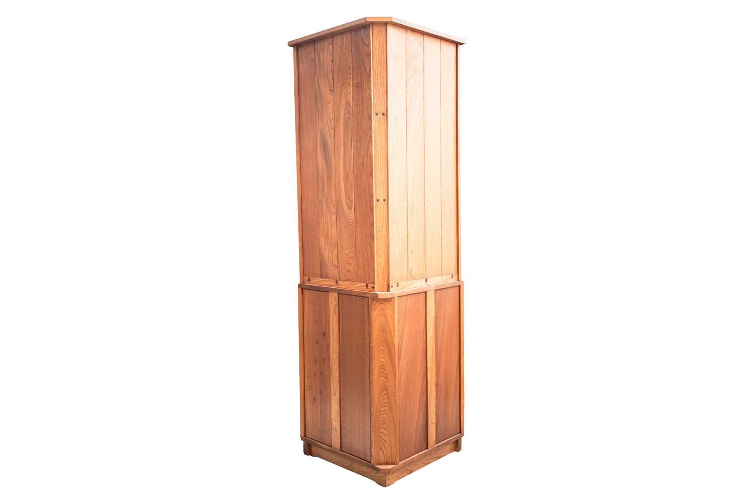 An Ercol golden dawn light elm free standing corner cupboard with an open upper section above a - Image 5 of 8
