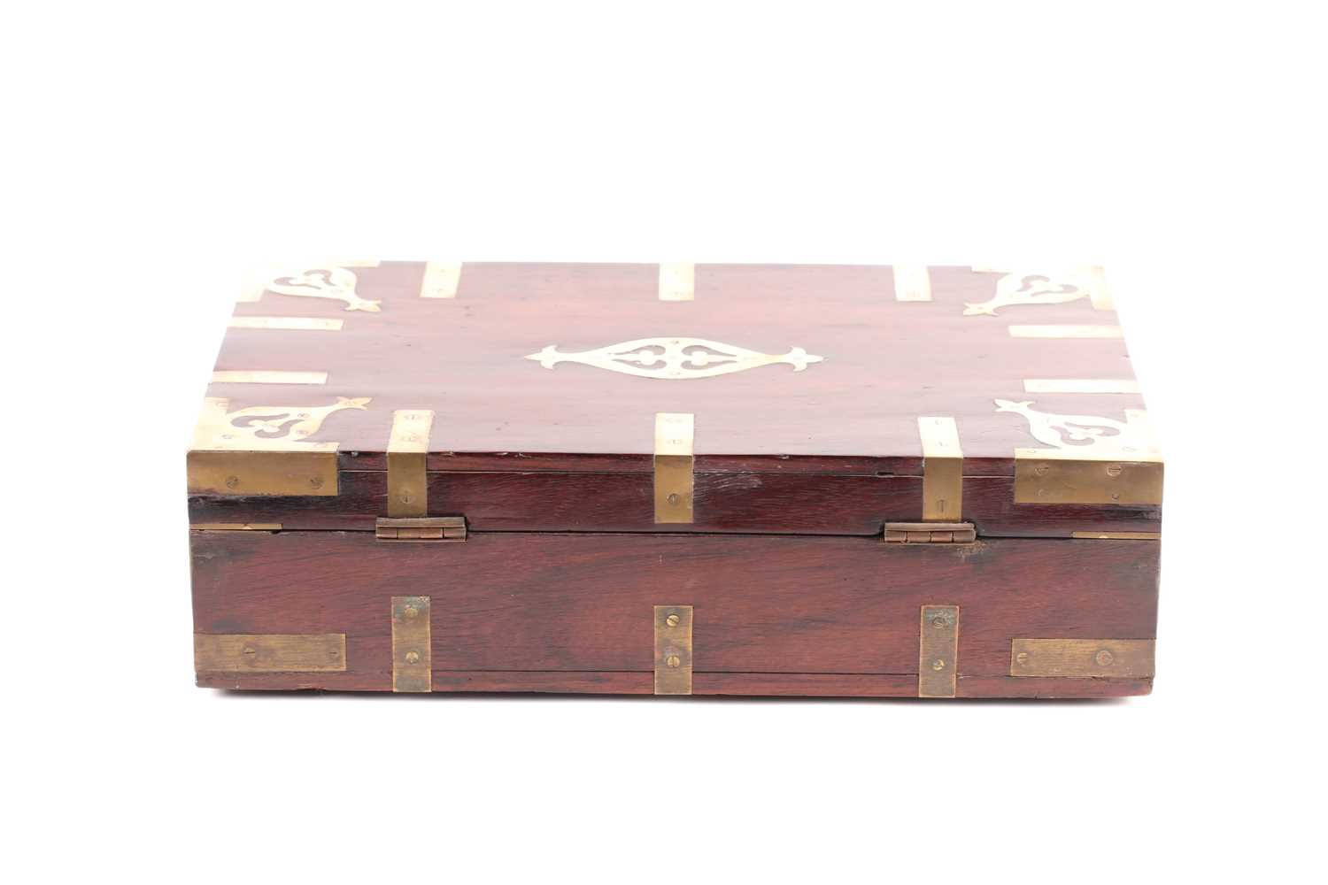 An early 19th-century Anglo-Indian brass bound teakwood campaign correspondence box. With sunken - Image 2 of 4