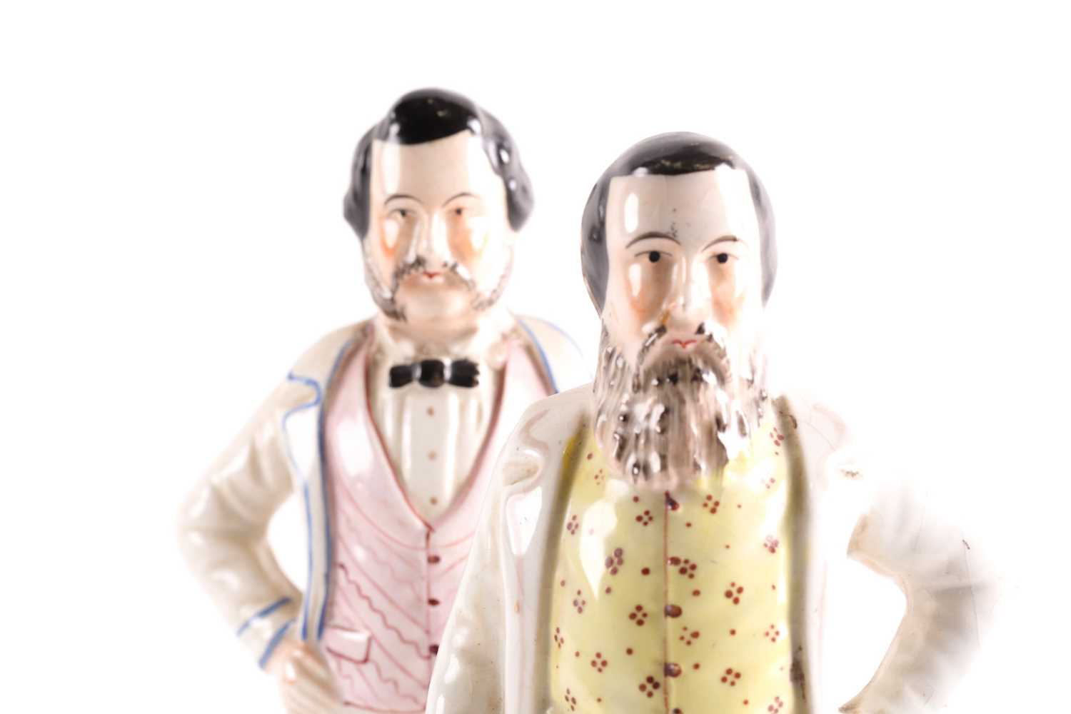A pair of 19th century Staffordshire figures of American evangelists Dwight Lynam Moody & Ira D - Image 2 of 4