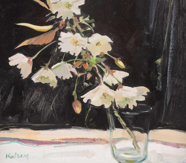 Robert Kelsey DA, MUniv, PAI, FRSA (B. 1949), Cherry Blossom, oil on canvas, signed lower left, 30 - Image 2 of 4