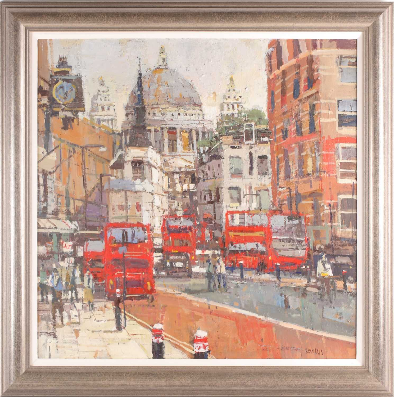 Robert Wells, London street with St Pauls in the distance, oil on canvas, signed lower right, 62