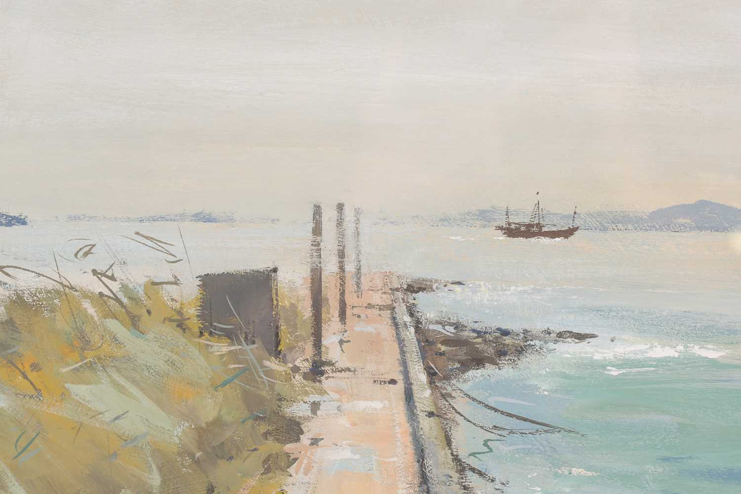 Ian Houston, (1934-2021), Mist Clearing, Tai O, Hong Kong, gouache on board, signed lower left, 25.5 - Image 2 of 4