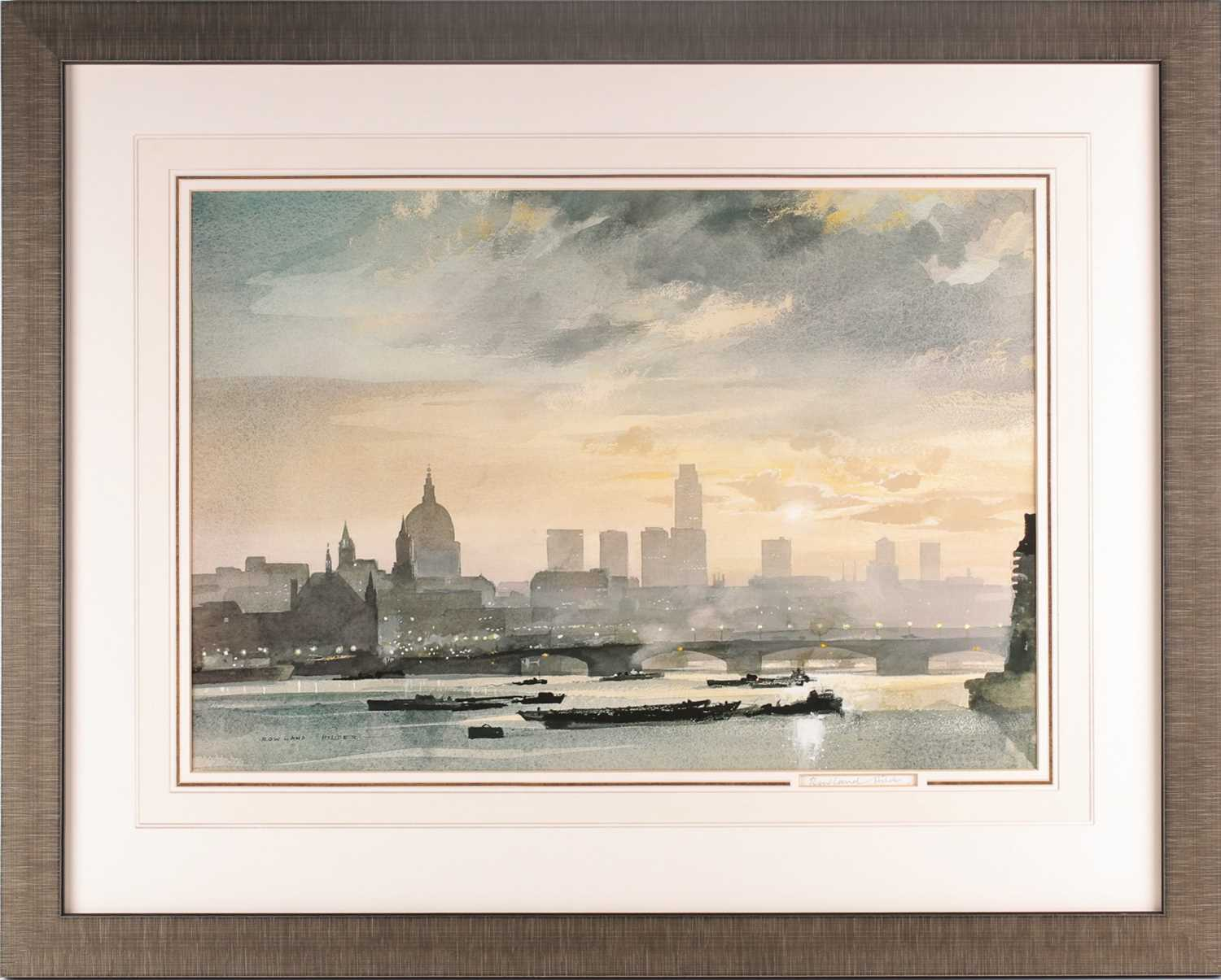 Rowland Frederick Hilder OBE (1905-1993), St Pauls from the Thames, London, watercolour and gouache,