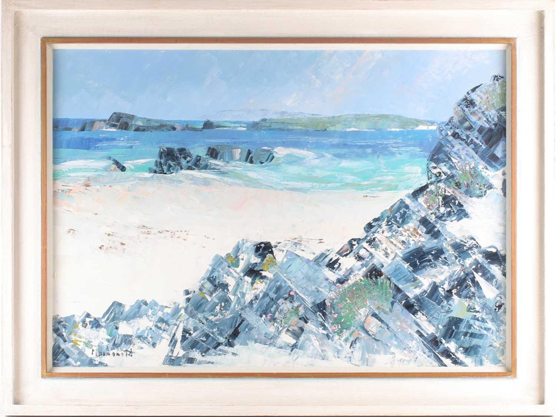 Frances Macdonald SSWA, RGI, (Scottish), White Strand of the Monks, oil on canvas, signed lower