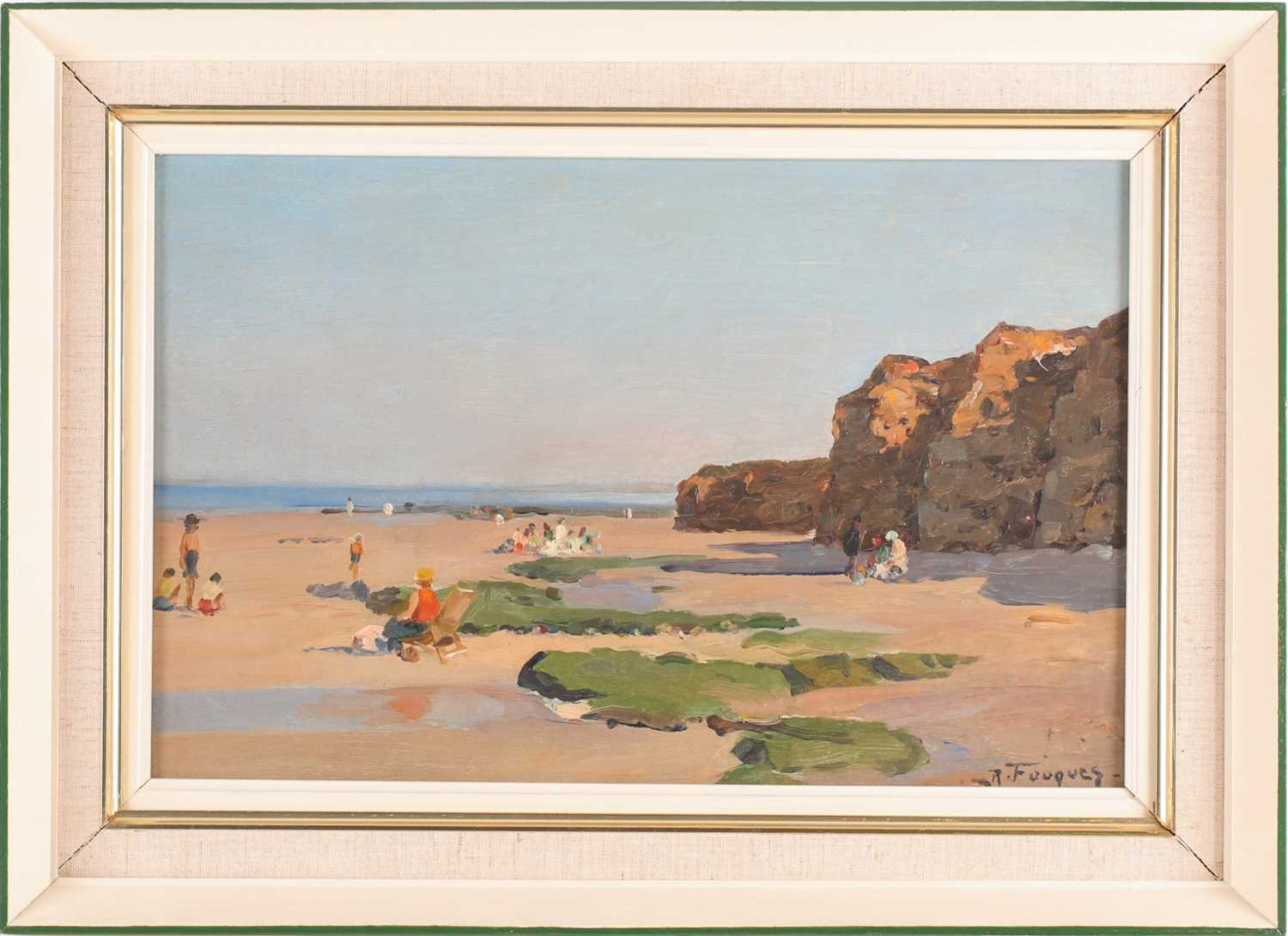 Robert-Henri Fouques (French 1892-1956), A day at the seaside, oil on canvas, signed lower right,
