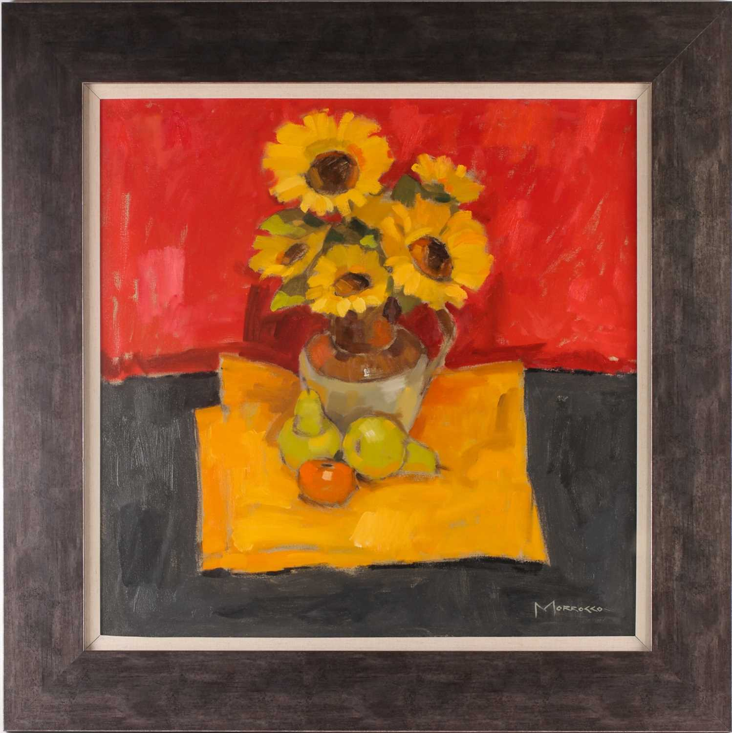 Jack Morrocco, FRSA, (Scottish. B. 1953), Sunflowers against red, oil on canvas, signed lower right,