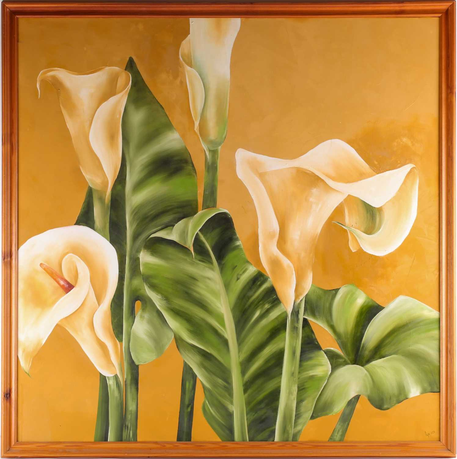 Lize-Maria Van Der Merwe, Arum Lilies, oil on cancas, signed and dated 2001 lower right, 99 cm x 100