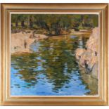 George Devlin, R.S.W., R. S.I. (Scottish. B. 1937) The Ceze, Pays du Gard, oil on canvas, signed