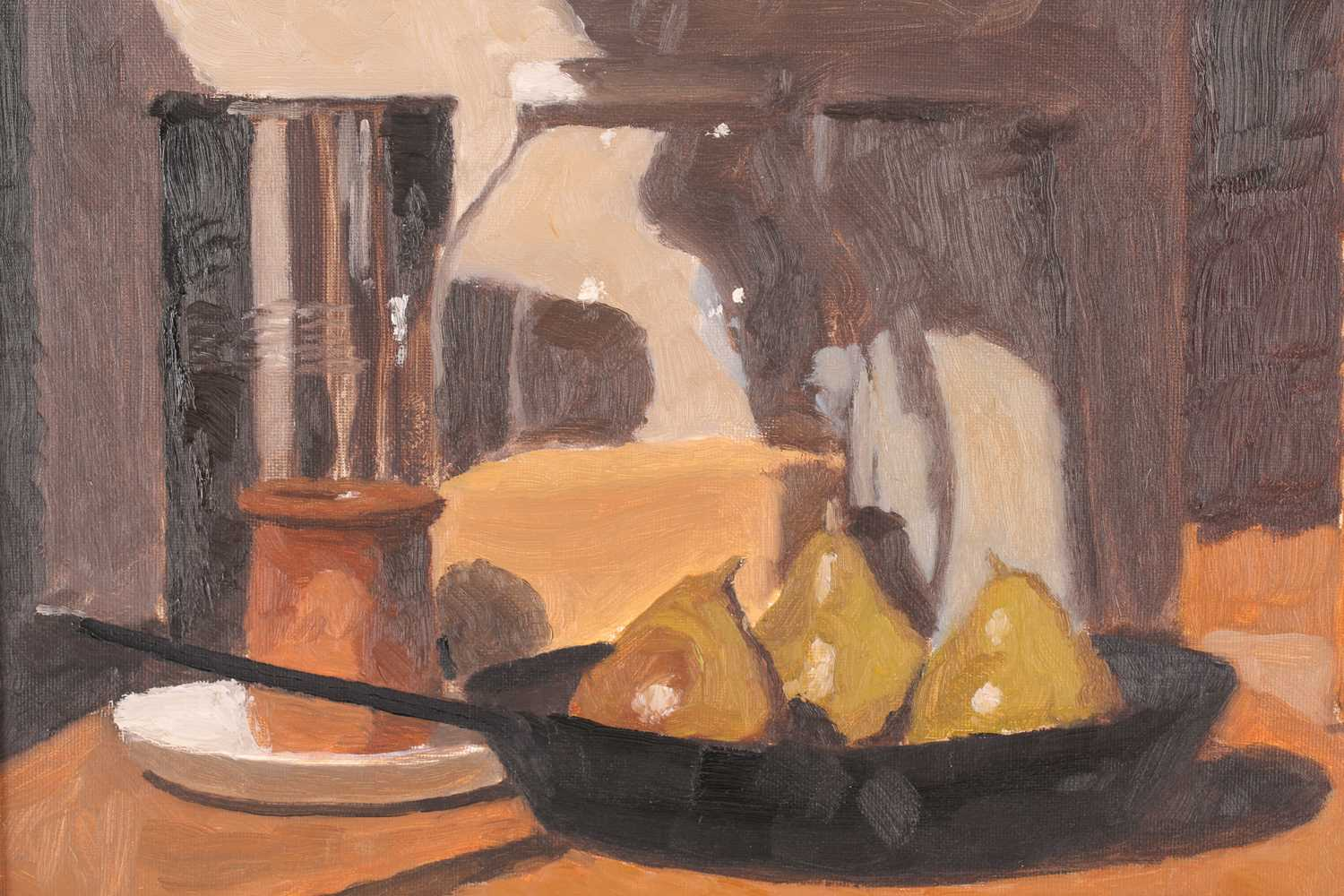 John Maddison FSA (Scottish. B. 1952), Frying pan with pears, oil on canvas board, signed with - Image 4 of 4
