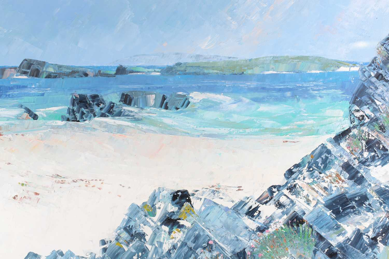 Frances Macdonald SSWA, RGI, (Scottish), White Strand of the Monks, oil on canvas, signed lower - Image 5 of 5