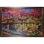 Peter Spens, Night, The City from Tate Modern, oil on board, signed lower left, inscribed and