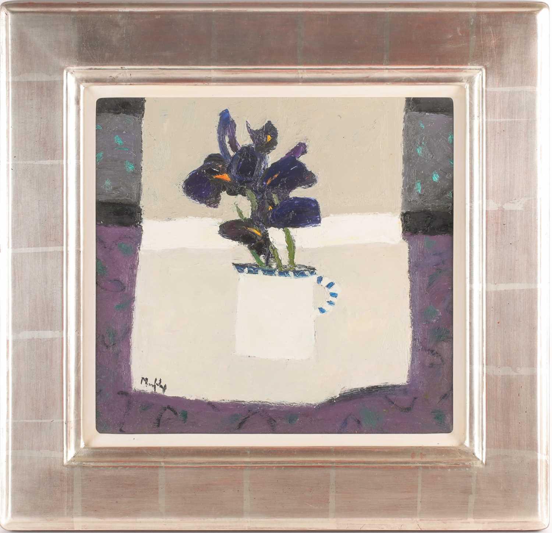Sandy Murphy, (Scottish. B. 1956), Milk jug and Iris, oil on board, signed lower left, 38.5 cm x
