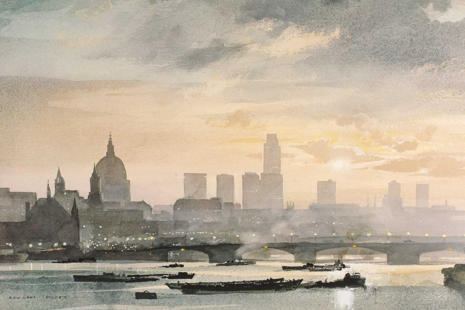 Rowland Frederick Hilder OBE (1905-1993), St Pauls from the Thames, London, watercolour and gouache, - Image 3 of 5