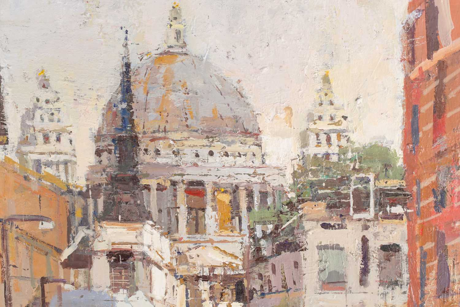 Robert Wells, London street with St Pauls in the distance, oil on canvas, signed lower right, 62 - Image 3 of 5