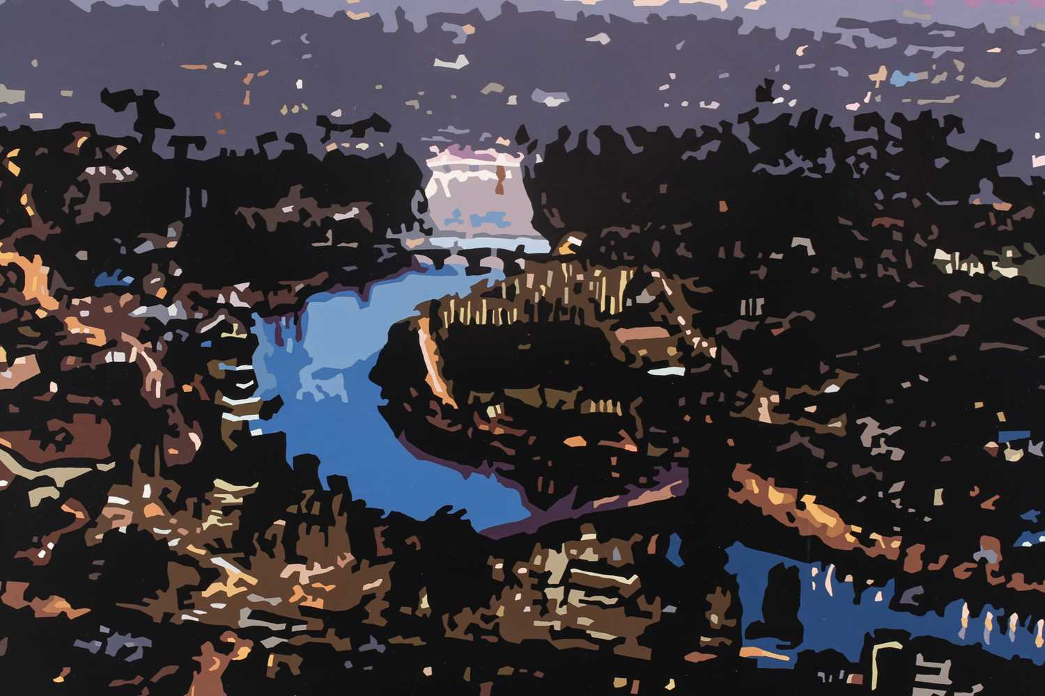 Alicia Dubnyckyj, The River II, London, gloss paint on board, signed and titled verso, 60 cm x 75 - Image 3 of 4
