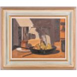 John Maddison FSA (Scottish. B. 1952), Frying pan with pears, oil on canvas board, signed with