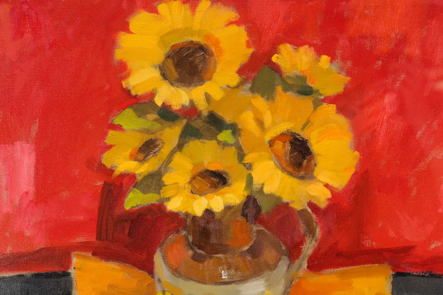 Jack Morrocco, FRSA, (Scottish. B. 1953), Sunflowers against red, oil on canvas, signed lower right, - Image 3 of 4