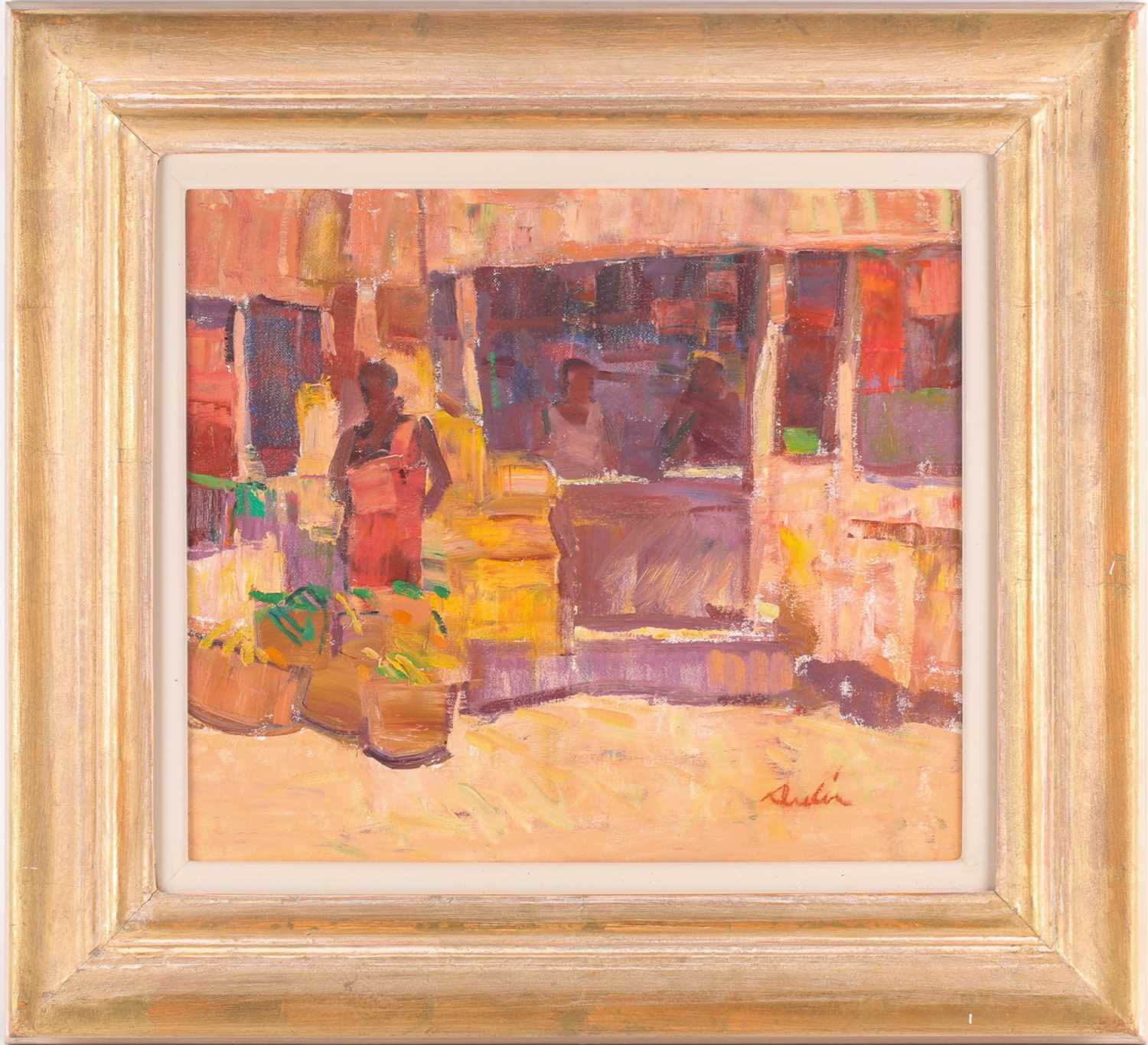 George Devlin R.S.W., R. S.I. (Scottish. B. 1937), Traders Bangalore, oil on canvas, signed lower