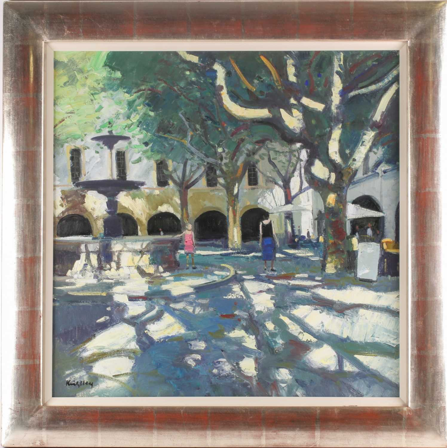John Kingsley, RSW, PAI (Scottish), Late afternoon, Uzes, oil on canvas, signed lower left, 60 cm